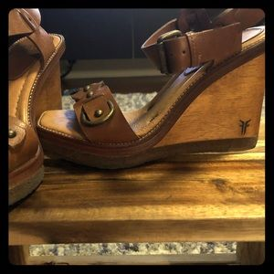 One of a kind Frye brown wedges - All Leather